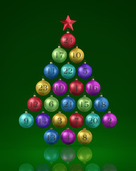24 Christbaumkugeln auf grünem Fond