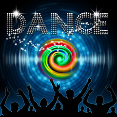 Dance poster round blue dot equalizer with rainbow vortex