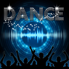 Dance poster blue graphic digital sound