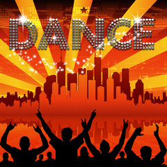 Dance poster red city skyline sunburst