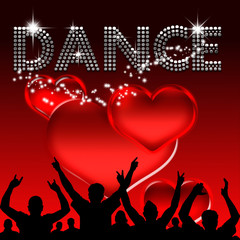 Dance poster valentine's day glass hearts