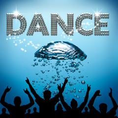 Dance poster underwater diving bubbles
