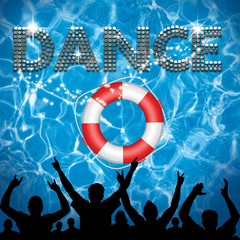 Dance poster lifebuoy pool party