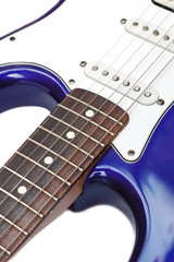 blue electric guitar closeup on white