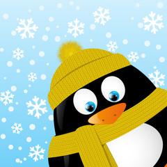 Cute cartoon penguin on winter background
