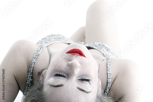canvas print picture red lips girl