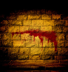 blood on the brick wall abstract background