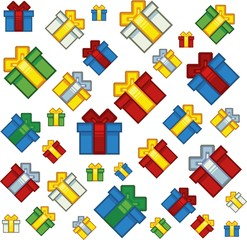 pixel art style xmas gifts background