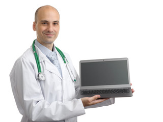 doctor showing blank laptop screen