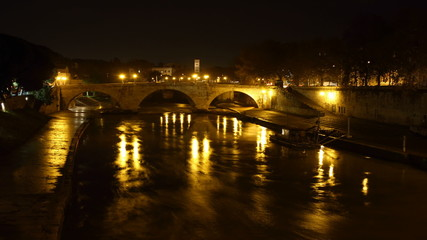 Tiber island Time Lapse at night, Rome, Italy