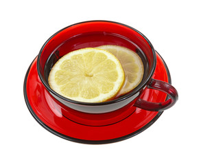 Lemon slices in a red cup with water