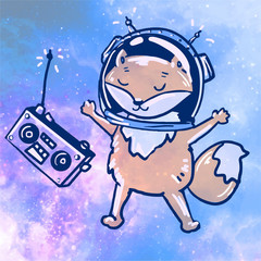 listen to music. space vector. fox