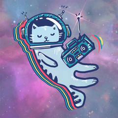 Cat in space. Astronaut. Flying in space. listen to music