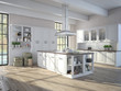 Luxurious kitchen with stainless steel appliances. 3d rendering