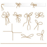 Collection of ribbons ahd bows in rope style - 74073854