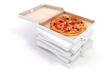 3d render of delicious pizza and box on white background