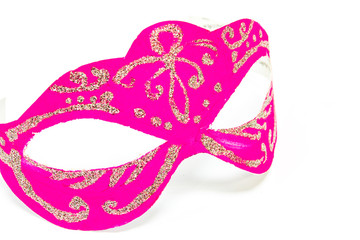 Carnival pink mask on white background