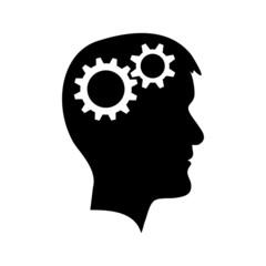 Man head with gear wheel