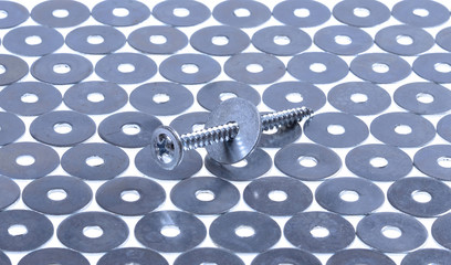 screw  and washers closeup on isolated  white background.