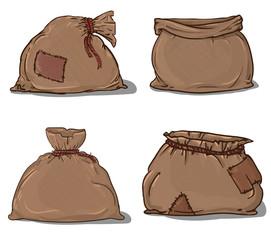 Canvas sack set vector. canvas bag.