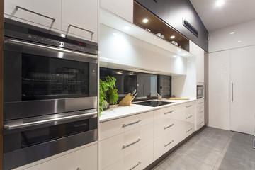 LED lit modern kitchen