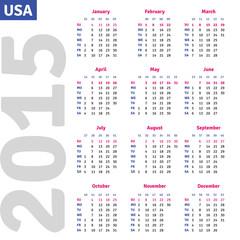 English calendar 2015, vertical calendar grid, vector