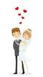 Постер, плакат: Набор свадебных фотографий невесты и жениха в любви вектор
