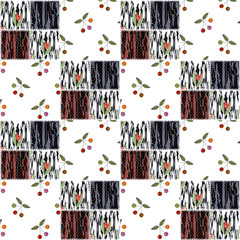 Patchwork squares seamless pattern cherry texture background