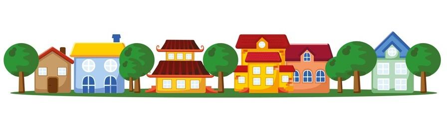 Мультфильм фон домов