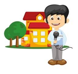 Мультфильм журналист возле дома