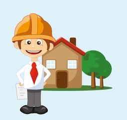 Мультфильм инженер возле дома
