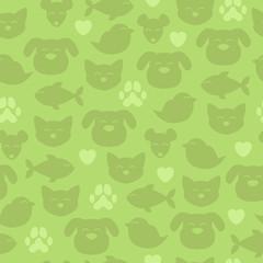 Cheerful domestic animals seamless pattern.