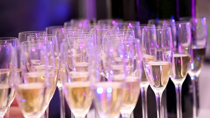 Champagne in glasses on a tray
