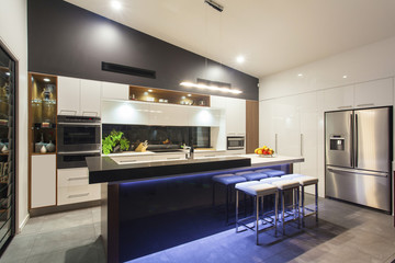 LED lit modern kitchen