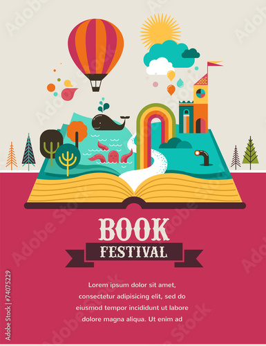 Open book with fairy tale elements and  icons - 74075229