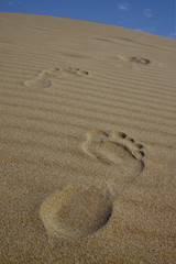 footsteps on a sand dune