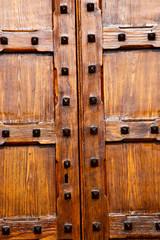 in legnano  rusty brass brown knocker   wood italy  lombardy