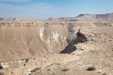 Woman sitting desert mountain edge.