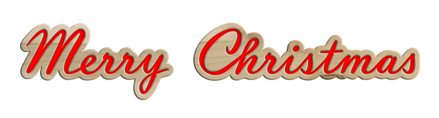 """Schriftzug """"Merry Christmas"""" aus Ahornholz, rot dekoriert"""