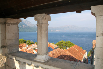 View from Marco Polo's house at the old town of Korcula