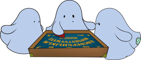 cute ghosts around ouija board.fantasy illustration,isolated
