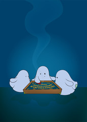 cute ghosts around ouija board.fantasy illustration,vertical