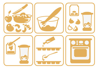 Set icons cooking fruit candy of apples and honey