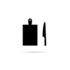 knife with cutting board vector silhouette