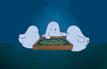 cute ghosts around ouija board.fantasy illustration,horizontal