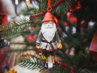 Christmas tree decoration with santa claus doll