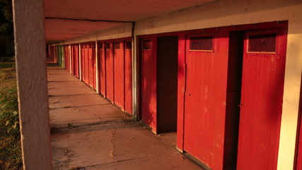 Deserted locker room cabins on the lake