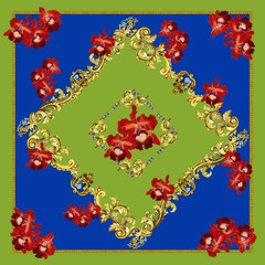 Foulard,Flower,Baroque