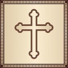 Christian Cross on golden background with filigree frame
