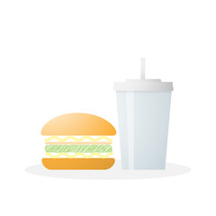 Fast food with hamburger and soft drink